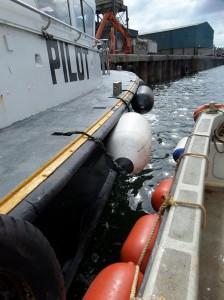 Heavy duty fenders on pilot boat