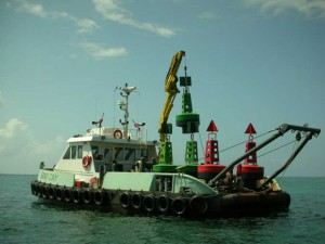 Navigation buoys being deployed in Caribbean