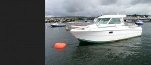 Boat and orange soft mooring buoy MBS1