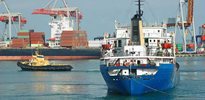 Navigation buoys demarcating areas in port